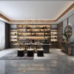新中式轻奢茶室3D模型【ID:644502106】