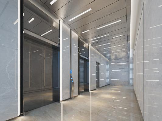 现代风格电梯厅3D模型【ID:743297662】
