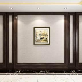 美式客厅电视沙发背景墙3D模型【ID:233805750】