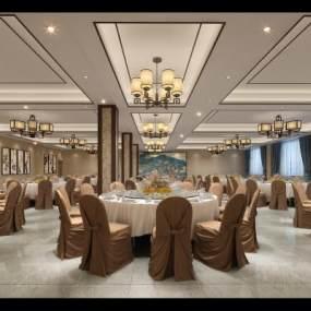 新中式酒店宴会厅3D模型【ID:731455089】