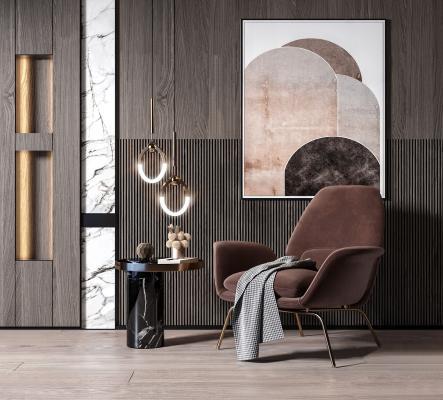 现代单人沙发边几组合3D模型【ID:652291499】