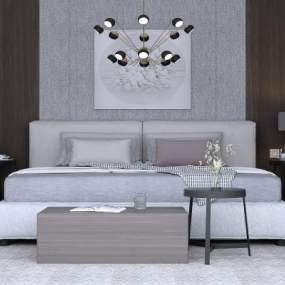 现代简约卧室3D模型【ID:849309720】