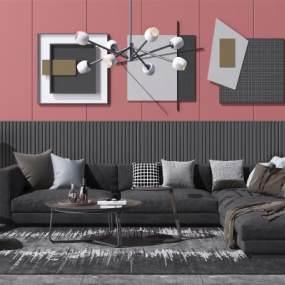 现代布艺转角沙发茶几组合3D模型【ID:648963705】