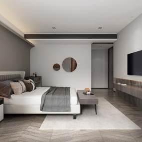 现代卧室3D模型【ID:545612246】
