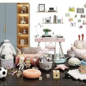 現代兒童玩具布偶書桌衣柜組合3D模型【ID:352122416】