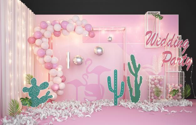 现代婚庆网红气球合影区美陈3D模型【ID:232311597】