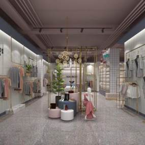 现代服装专卖店3D模型【ID:150376074】