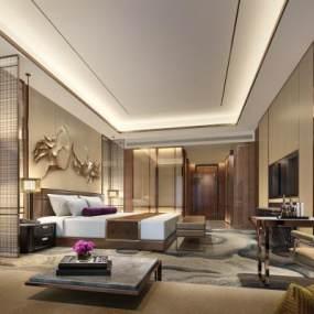 新中式风格酒店客房3D模型【ID:741557364】
