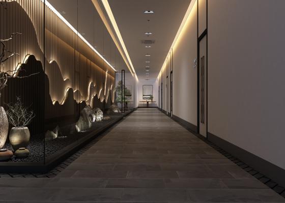 新中式过道走廊3D模型【ID:747241427】