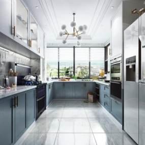 現代風格廚房櫥柜3D模型【ID:543802327】