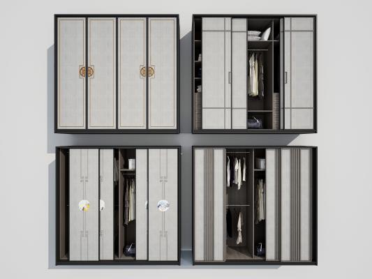 新中式衣柜3D模型【ID:142536454】