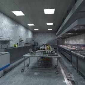 现代酒店厨房3D模型【ID:643725681】