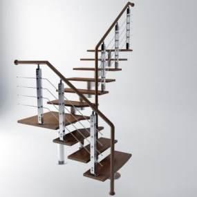 现代楼梯栏杆扶手3D模型【ID:335486560】