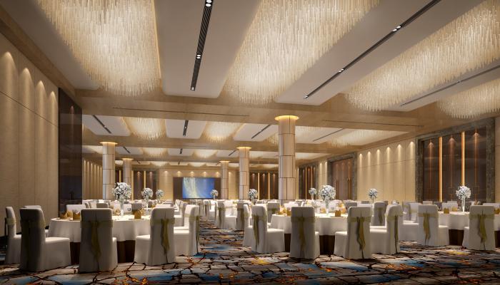 现代酒店多功能宴会厅3D模型【ID:753347244】