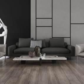 现代沙发茶几组合3D模型【ID:645511700】