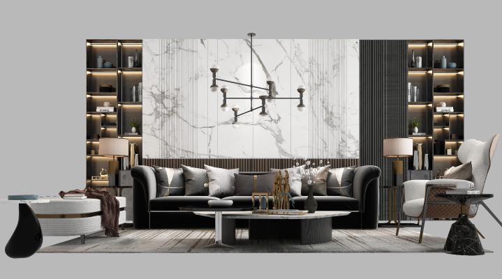 现代沙发组合3D模型【ID:650602863】