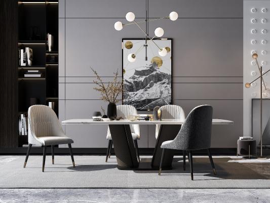 现代餐厅组合 餐桌椅 装饰柜 酒柜 吊灯 装饰品