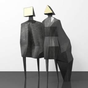 现代人物雕塑3D模型【ID:345902126】