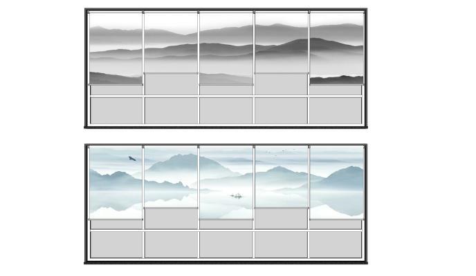 新中式山水圖案禪意卷簾SU模型【ID:946952449】