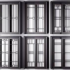 现代黑色烤漆描金厨房推拉门3D模型【ID:335731100】
