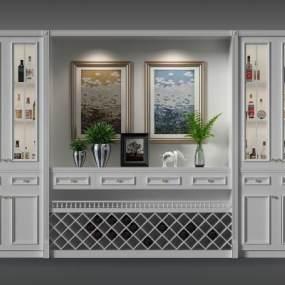 欧式酒柜3D模型【ID:632030252】