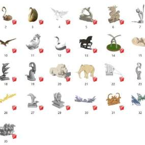 现代风格雕塑小品 动物雕塑【ID:652989692】