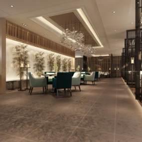 新中式酒店大堂3D模型【ID:748783029】