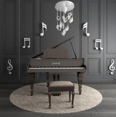 現代鋼琴音符擺件吊燈組合3D模型【ID:340943947】