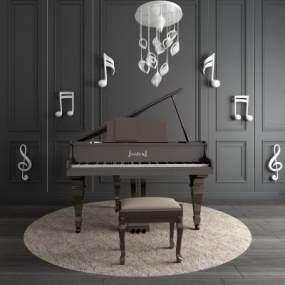 现代钢琴音符摆件吊灯组合3D模型【ID:340943947】