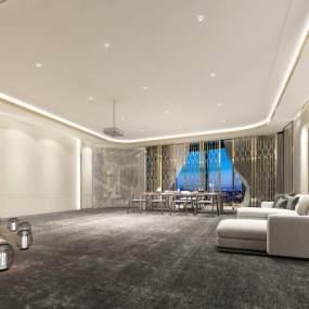 新中式接待室3D模型【ID:943253391】