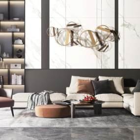 现代轻奢沙发茶几组合3D模型【ID:635786758】