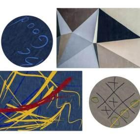 现代地毯组合3D模型【ID:348732252】