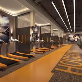 现代工业风健身房3D模型【ID:743517807】