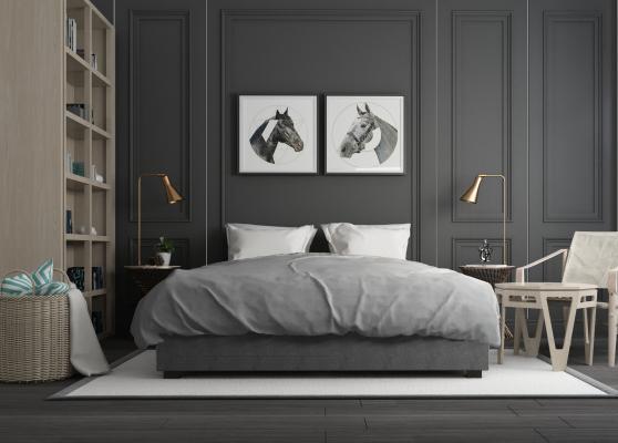 北歐臥室雙人床書柜組合3D模型【ID:640908173】
