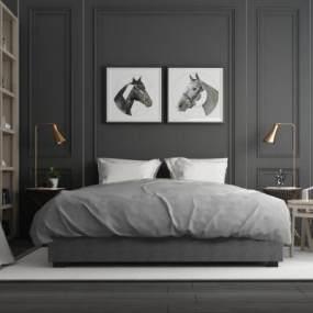 北欧卧室双人床书柜组合 3D模型【ID:640908173】