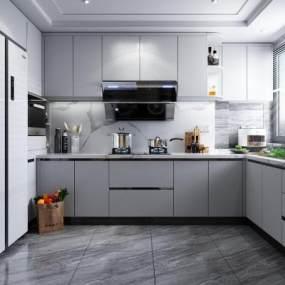 现代风格厨房3D模型【ID:549083363】