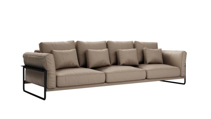 现代皮质多人沙发3D模型【ID:643304695】