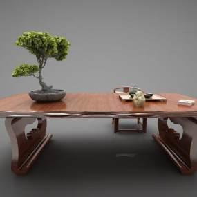 新中式风格茶桌3D模型【ID:844854957】