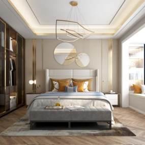 现代轻奢卧室 3D模型【ID:842113754】