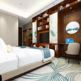 新中式酒店客房3D模型【ID:750846382】