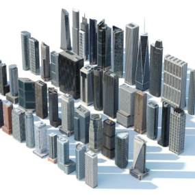 现代建筑群商业楼组合3D模型【ID:149143607】