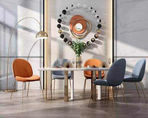 現代輕奢餐桌椅組合3D模型【ID:846686864】