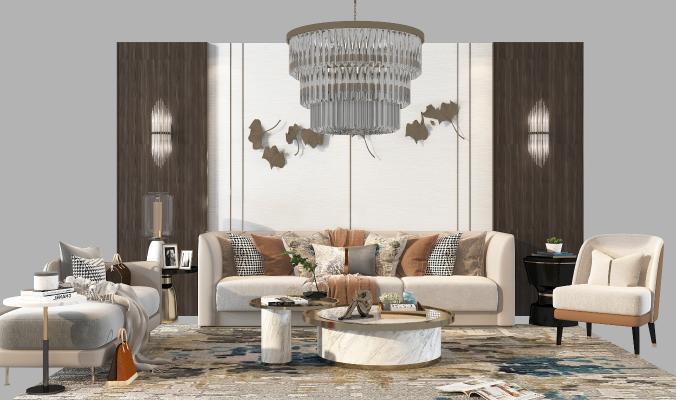 现代沙发组合3D模型【ID:652906870】
