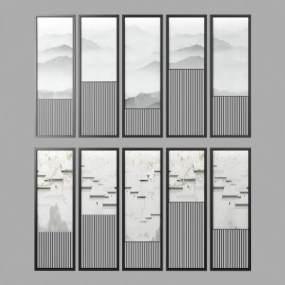 新中式夹丝玻璃花格隔断3D模型【ID:334446750】