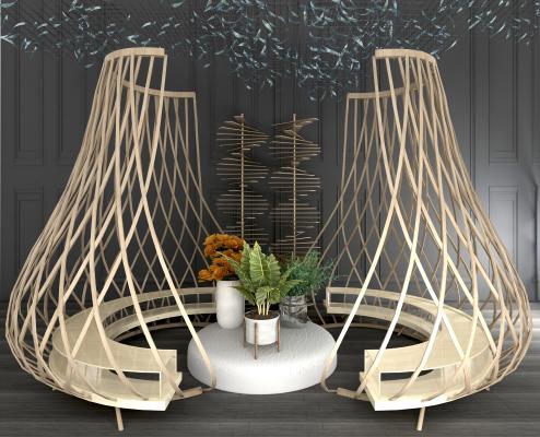 现代实木弧形户外椅 竹编休闲椅 藤编休闲沙发椅