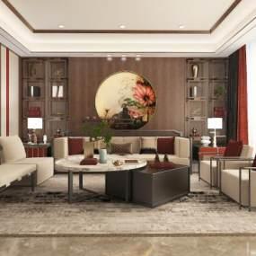 新中式客厅 3D模型【ID:541525036】