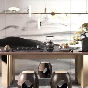 新中式茶桌椅组合 3D模型【ID:640817173】