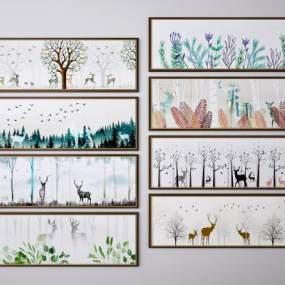 北欧麋鹿风景挂画装饰画组合3D模型【ID:249348915】