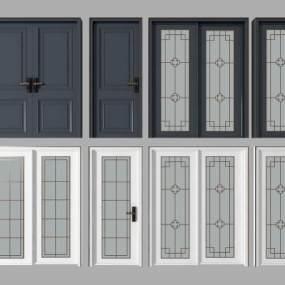 中式双开门单开门推拉门组合 3D模型【ID:341507177】