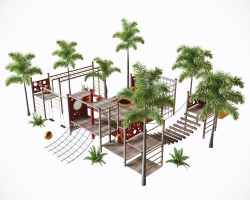 现代户外儿童游乐园3D模型【ID:445243182】